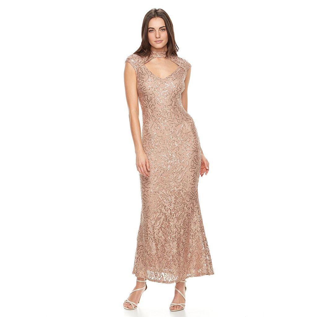 Women's Onyx Nite Choker Neck Sequin Evening Gown