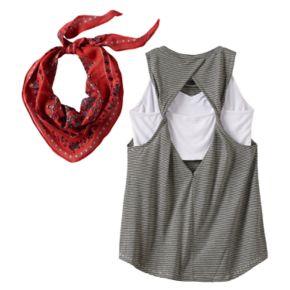 Girls 7-16 Miss Chievous Crochet Lace Applique Tank Top, Bralette & Bandana Scarf Set
