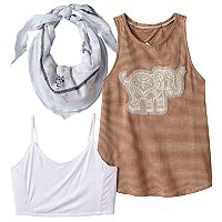 Girls 7-16 Miss Chievous Crochet Lace Applique Tank Top, Bralette & Bandana Scarf Set