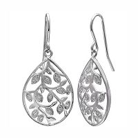 PRIMROSE Sterling Silver Cubic Zirconia Vine Teardrop Earrings