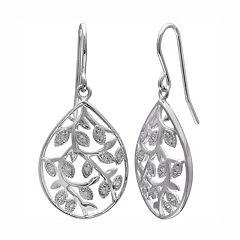 PRIMROSE Sterling Silver Cubic Zirconia Vine Teardrop Earrings