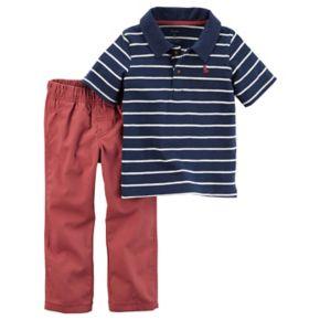 Toddler Boy Carter's Striped Polo & Canvas Pants Set