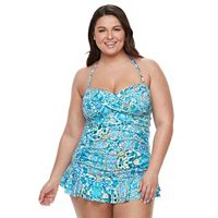 Plus Size Apt. 9® Print Twist-Front Swimdress