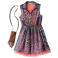 Girls 7-16 Knitworks Printed Chiffon Skater Dress with Belt & Crossbody Purse