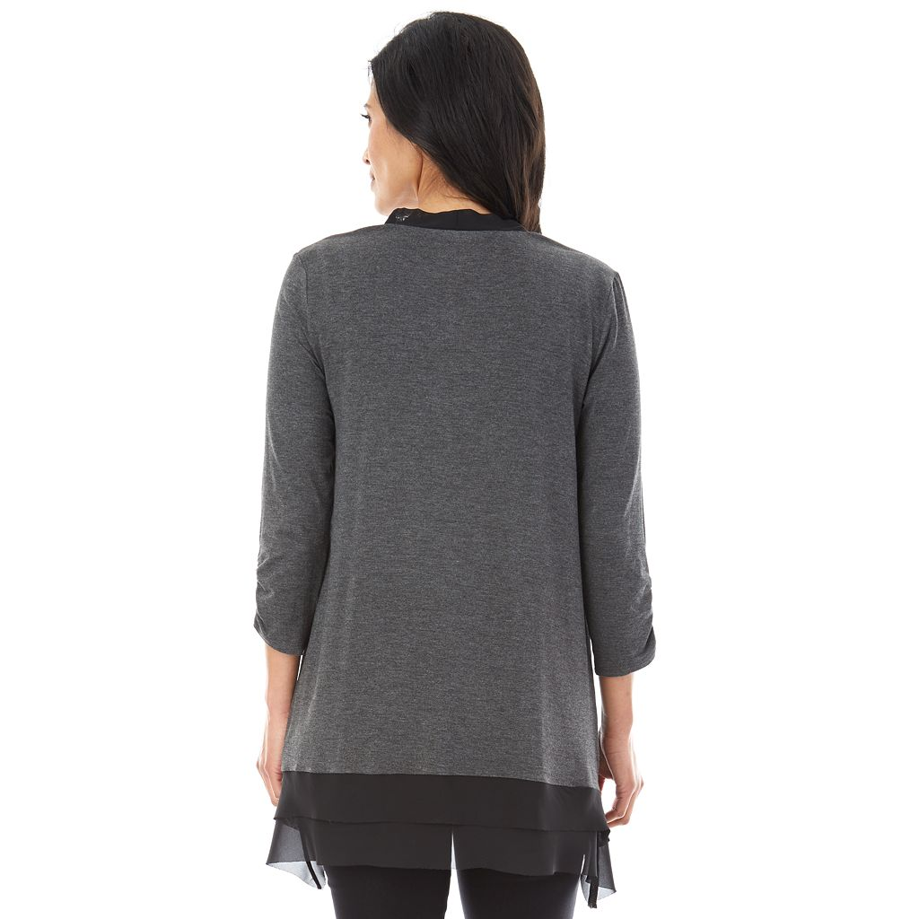 Women's AB Studio Chiffon Trim Cardigan