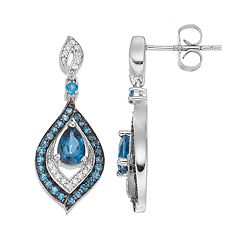 Sterling Silver Blue Topaz & Lab-Created White Sapphire Teardrop Earrings