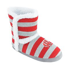 Women's Wisconsin Badgers Striped Boot Slippers