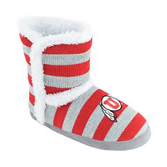 Women's Utah Utes Striped Boot Slippers