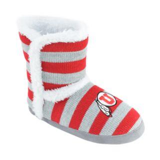 Women's Utah Utes Striped Boot Slippers