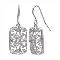 PRIMROSE Sterling Silver Cubic Zirconia Filigree Rectangle Drop Earrings