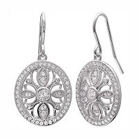 PRIMROSE Sterling Silver Cubic Zirconia Oval Drop Earrings