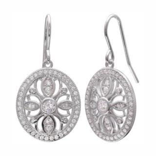 PRIMROSE Sterling Silver Cubic Zirconia Oval Drop Earrings