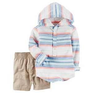 Toddler Boy Carter's Hooded Henley & Shorts Set
