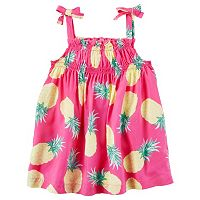 Toddler Girl Carter's Woven Patterned Bow Tank Top