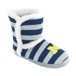 Women's Michigan Wolverines Striped Boot Slippers