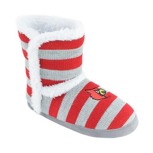 Women's Louisville Cardinals Striped Boot Slippers