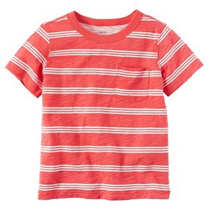 Toddler Boy Carter's Short Sleeve Triple-Striped Slubbed Pocket Tee