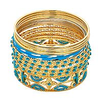 Simulated Turquoise Bead Bangle Bracelet Set