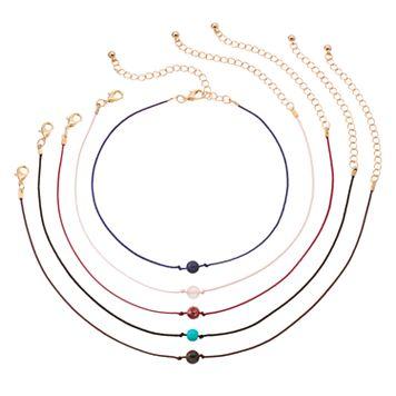 Mudd® Beaded Cord Choker Necklace Set