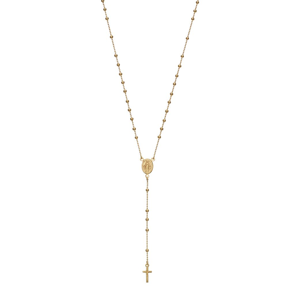 24k Gold Bonded Sterling Silver Virgin Mary & Cross Y Necklace