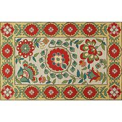 Momeni Suzani Hook Orla Framed Floral Wool Rug
