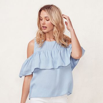 Women's LC Lauren Conrad Cold-Shoulder Chambray Shirt