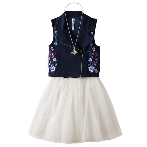 Girls 7-16 Knitworks Embroidered Moto Vest & Skater Dress Set with Necklace