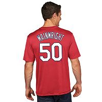 Men's Majestic St. Louis Cardinals Adam Wainwright Player Name and Number Tee