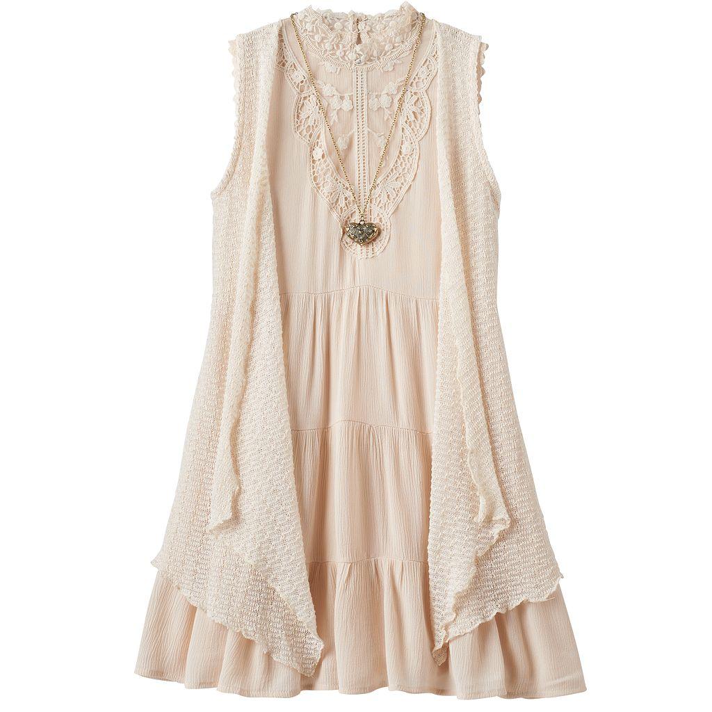 Girls 7-16 Knitworks Vest, Necklace & Tiered Dress Set