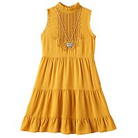 Girls 7-16 Knitworks Tiered Dress with Necklace