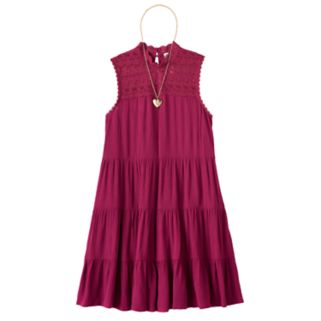 Girls 7-16 Knitworks Tiered Lace Trim Dress with Necklace