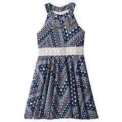 Girls 7-16 Knitworks Printed Lace Trim Halter Skater Dress with Necklace