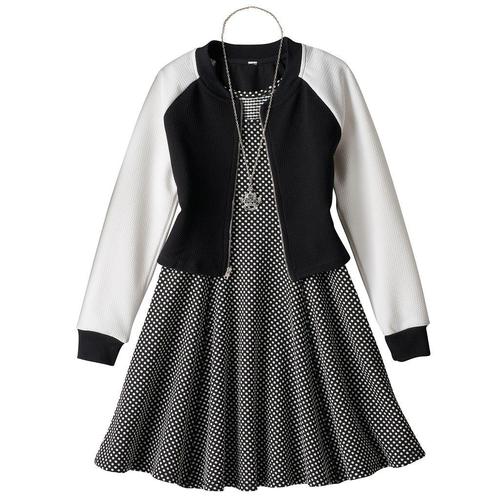 Girls 7-16 Knitworks Textured Jacket & Polka-Dot Princess Seam Dress with Necklace