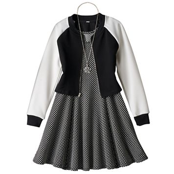 Girls 7-16 Knitworks Textured Jacket & Polka-Dot Princess Seam Dress with Necklace