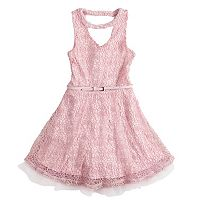 Girls 7-16 Beautees Lace Skater Dress