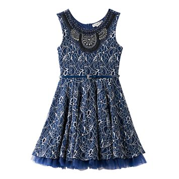 Girls 7-16 Knitworks Rhinestone Collar Belted Lace Dress