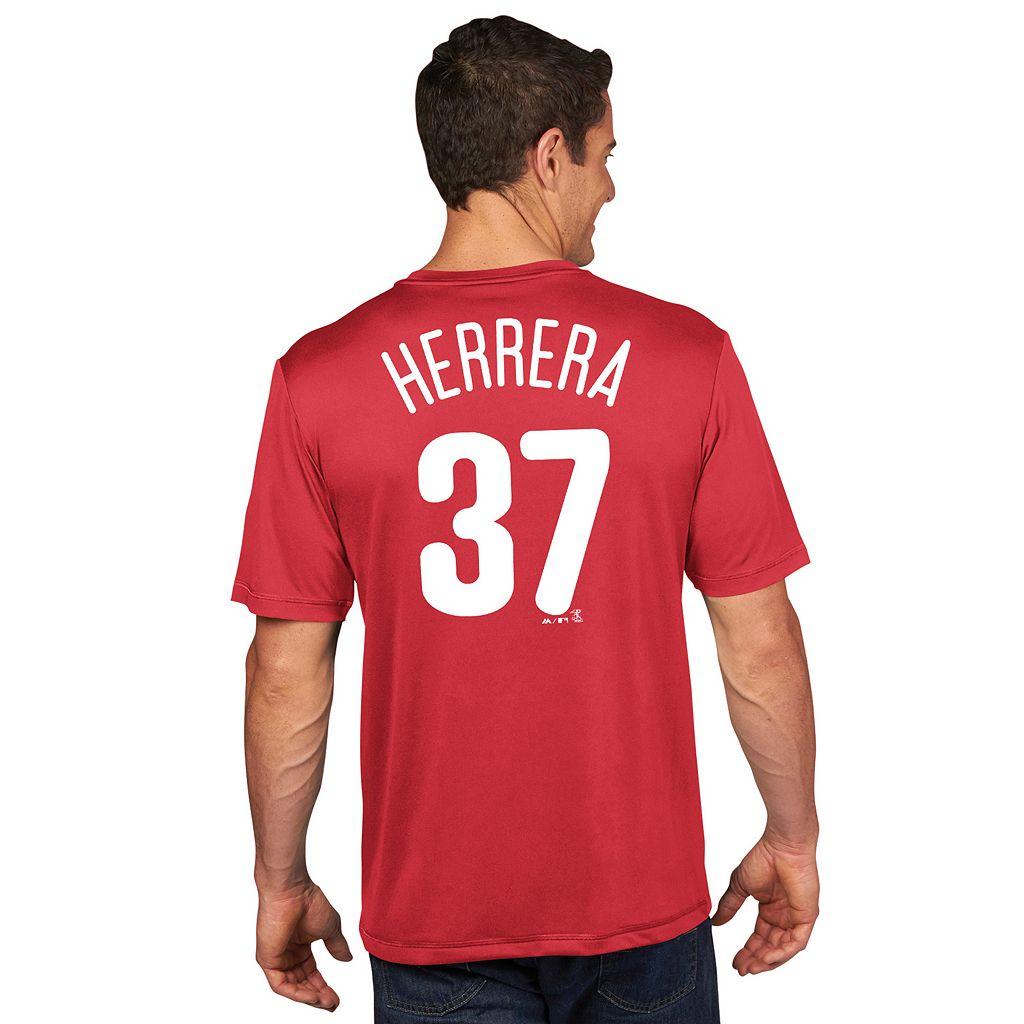Men's Majestic Philadelphia Phillies Odubel Herrera Player Name and Number Tee