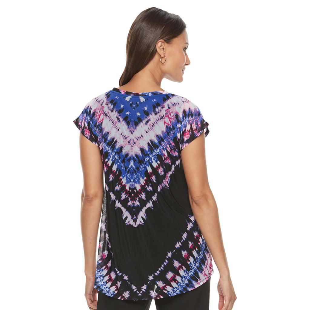 Women's Dana Buchman Layered Mesh V-Neck Top