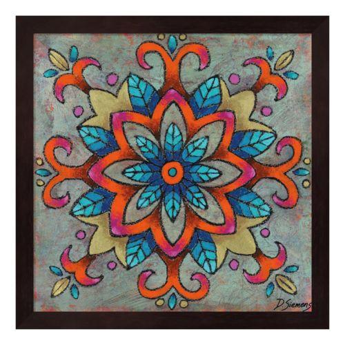 Mandala Blue Leaves Framed Wall Art