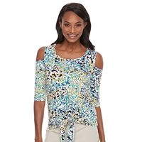 Women's Dana Buchman Cold-Shoulder Tie-Front Top