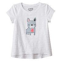 Toddler Girl Jumping Beans® Embroidered Applique High-Low Slubbed Tee