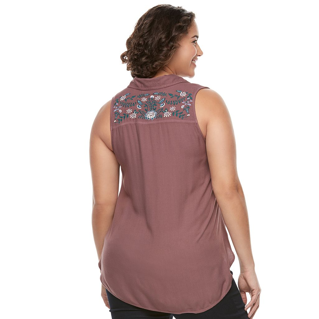 Juniors' Plus Size Mudd® Embroidered Sleeveless Blouse