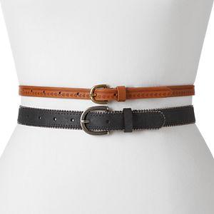 Mudd® 2-for-1 Skinny Belt Set