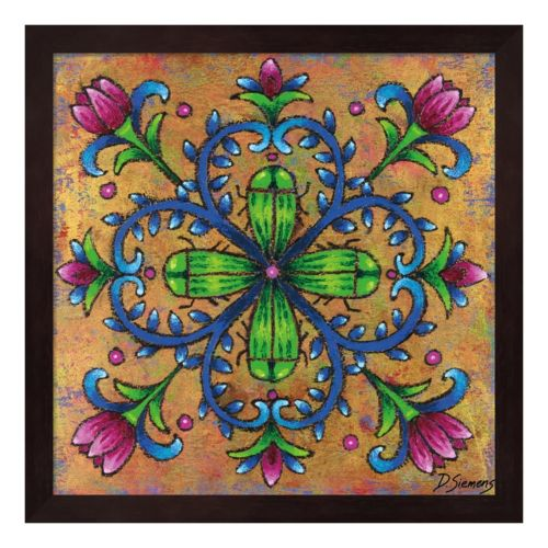 Mandala Green Beetles Framed Wall Art