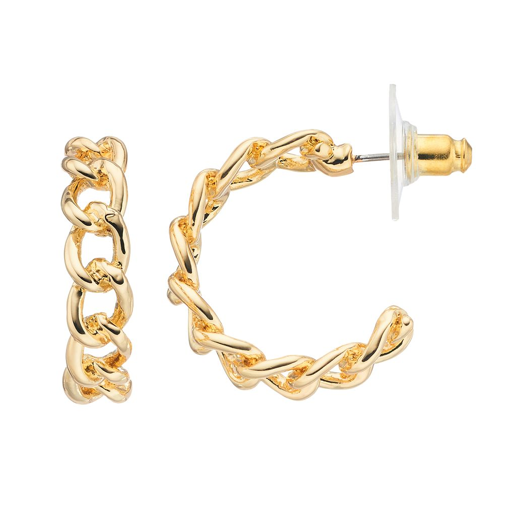 Napier Curb Chain Nickel Free Hoop Earrings