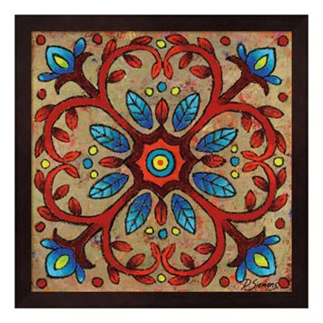 Mandala Red Vines Framed Wall Art