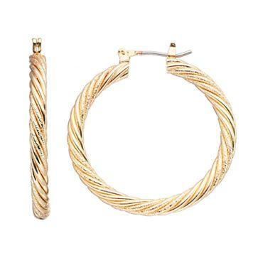 Napier Twisted Nickel Free Hoop Earrings