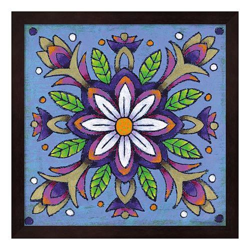 Mandala White Flower Framed Wall Art