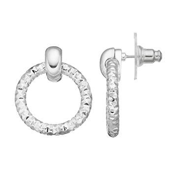 Napier Textured Nickel Free Door Knocker Earrings