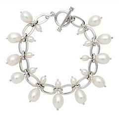 Sterling Silver Freshwater Cultured Pearl Drop Bracelet